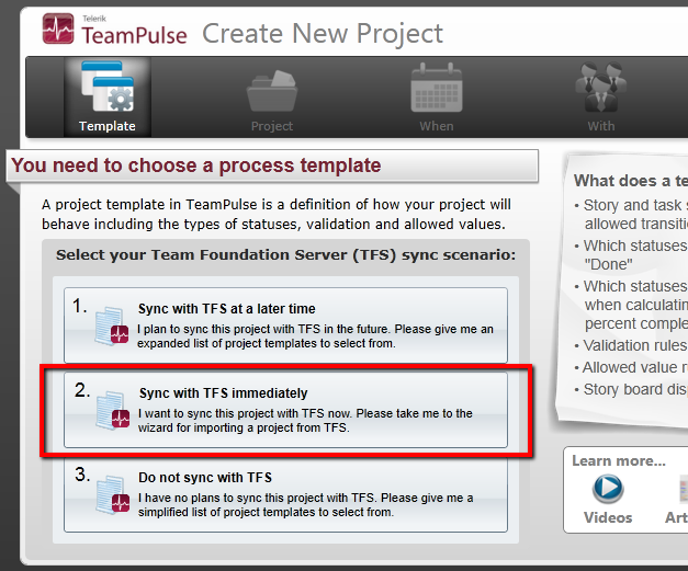 Import TFS project option on the Choose Template page of the TeamPulse Create New Project startup interview