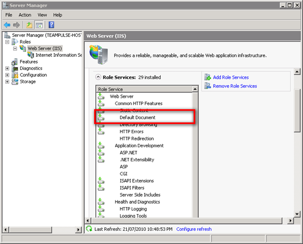 Enabling Default Document in Windows Server 2008