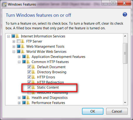 Enabling Static Content in Windows7