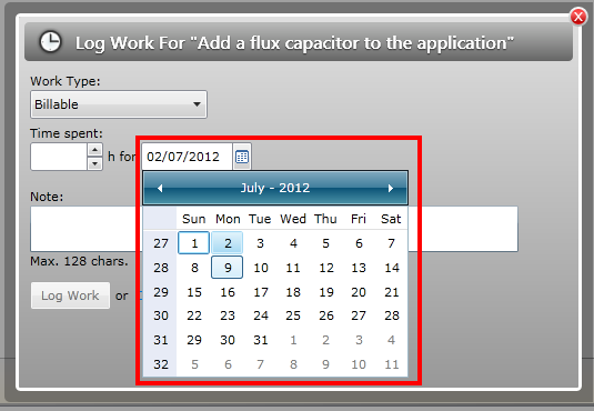 Choose date to log work for