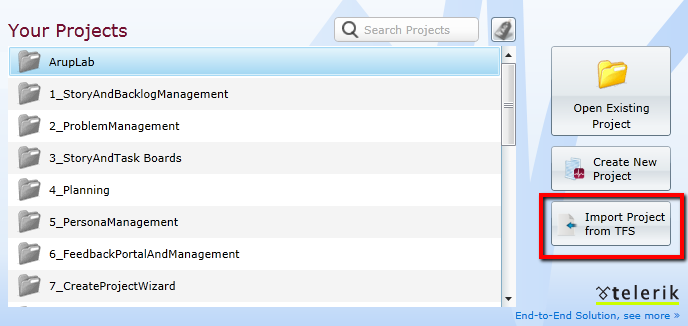 Import TFS Project option on the TeamPulse project list screen