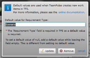 TFS import: default values