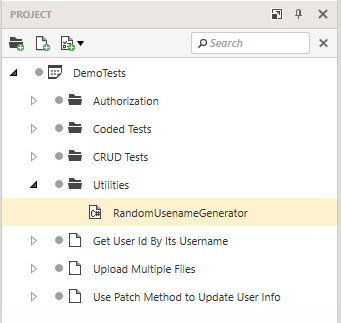 Code Item in Project Explorer