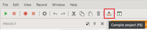 Compile Project Toolbar Button