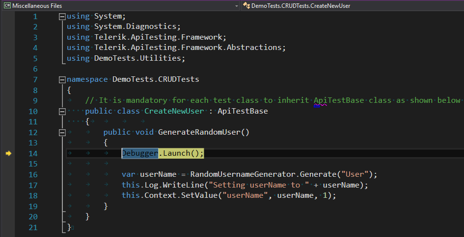 Debug in Visual Studio