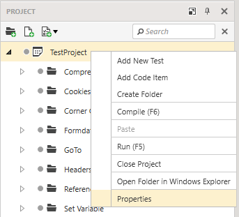 Project Properties Context Menu
