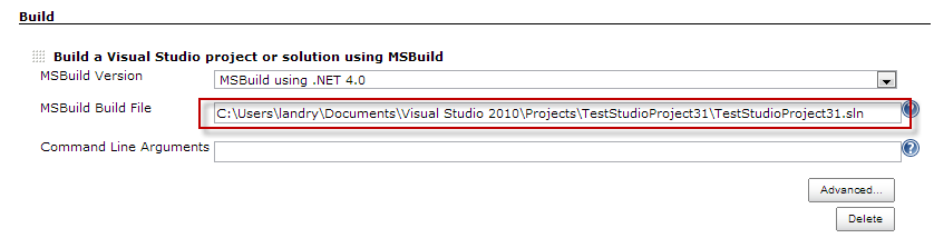 Specify a Visual Studio project