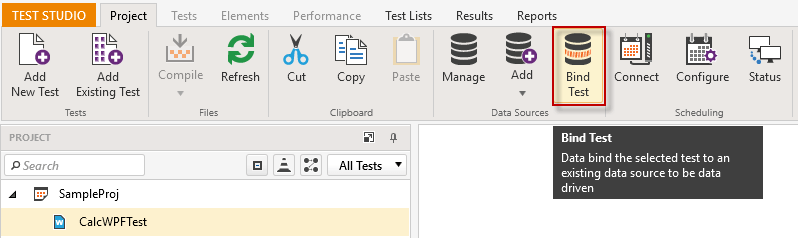 Bind Test to a Data Source | Progress Test Studio