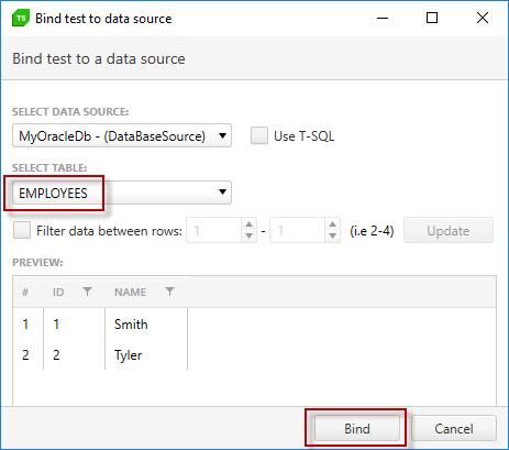 Oracle Database Example | Progress Test Studio