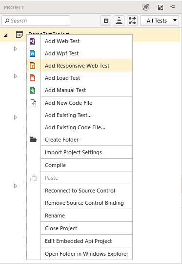 Project Context Menu