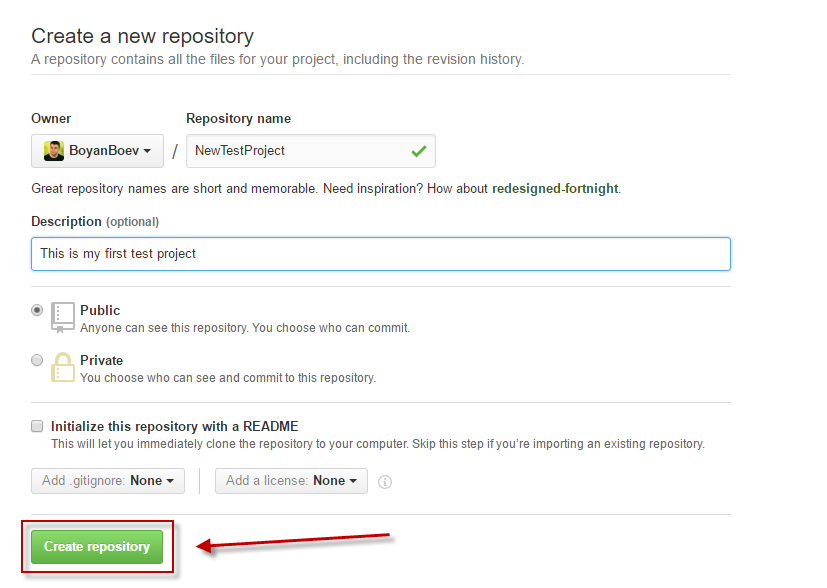 Create an empty repository