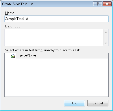 Create New Test List