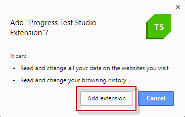 Add Extension Confirmation