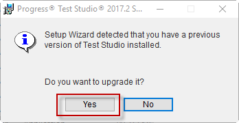 Confirm upgrade of the existing installation
