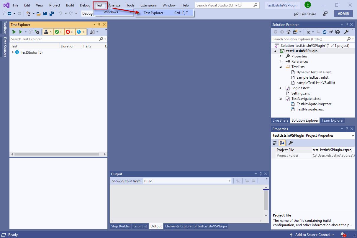 Visual Studio Test Explorer | Progress Test Studio