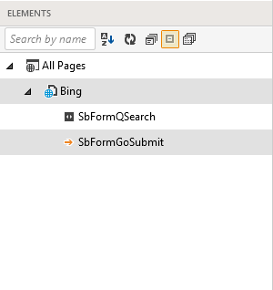 Element explorer with one page node