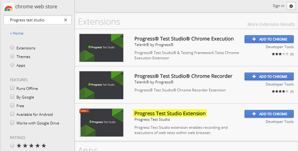 Progress Test Studio Extensions Disabled in Chrome | Progress Test