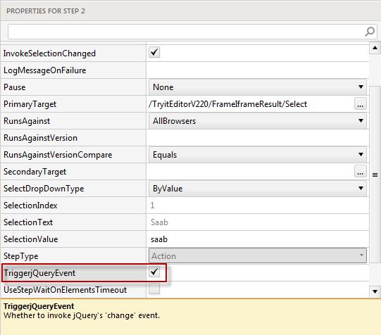 Drop-down menu jQuery Event Not Triggered | Progress Test Studio