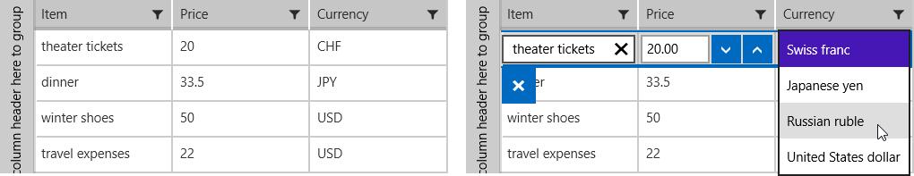 ComboBox Column | UI for Windows Universal Documentation by Progress